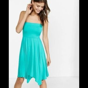 Express Blue Strapless Handkerchief Hem Dress L